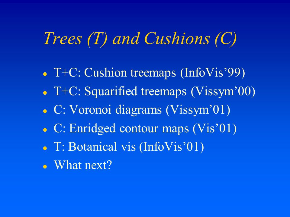 Trees (T) and Cushions (C) l T+C: Cushion treemaps (InfoVis'99) l T+C: Squarified treemaps (Vissym'00) l C: Voronoi diagrams (Vissym'01) l C: Enridged contour maps (Vis'01) l T: Botanical vis (InfoVis'01) l What next