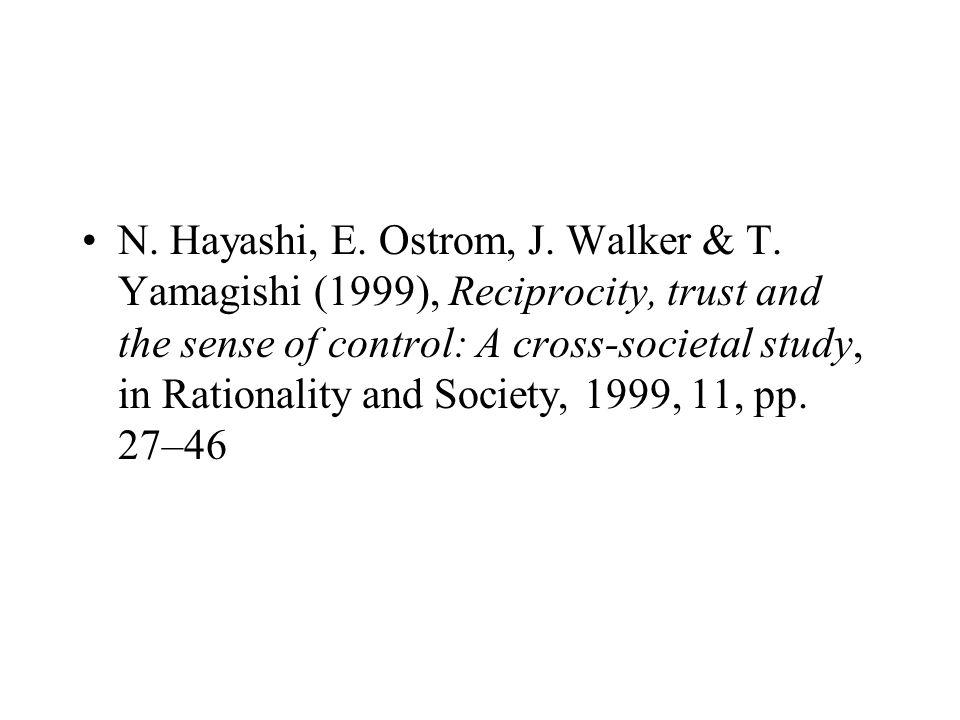 N. Hayashi, E. Ostrom, J. Walker & T. Yamagishi (1999), Reciprocity, trust and the sense of control: A cross-societal study, in Rationality and Societ
