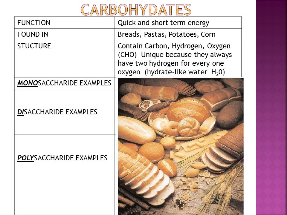 FUNCTIONQuick and short term energy FOUND INBreads, Pastas, Potatoes, Corn STUCTUREContain Carbon, Hydrogen, Oxygen (CHO) Unique because they always have two hydrogen for every one oxygen (hydrate-like water H 2 0) MONOSACCHARIDE EXAMPLESGlucose (C 6 H 12 O 6 ) DISACCHARIDE EXAMPLES Lactose (milk sugar) Maltose (malt sugar-in grain), Sucrose (made of fructose & maltose combined-in sugar cane)-fruit (C 12 H 22 O 11 ) POLYSACCHARIDE EXAMPLES 100 to 1000 monosaccharides joined Starch-how carbohydrates are stored in plants Glycogen-how carbohydrates are stored in animals Cellulose-found in plant cell walls; animals cannot digest (Fiber)
