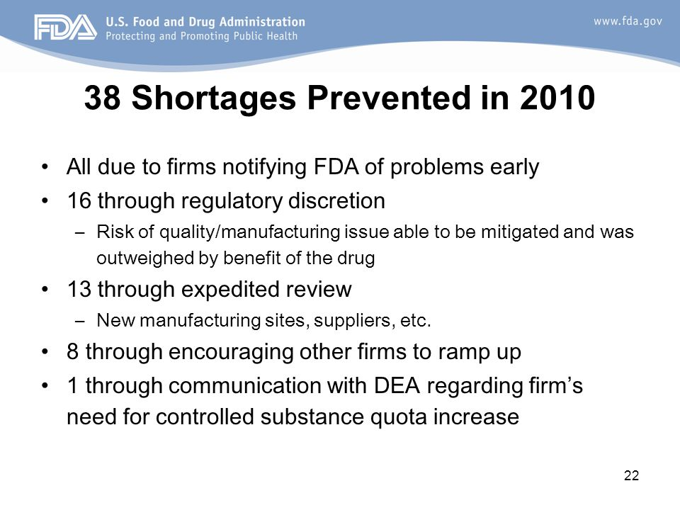 22 38 Shortages Prevented in 2010 All due to firms notifying FDA of problems early 16 through regulatory discretion –Risk of quality/manufacturing issue able to be mitigated and was outweighed by benefit of the drug 13 through expedited review –New manufacturing sites, suppliers, etc.