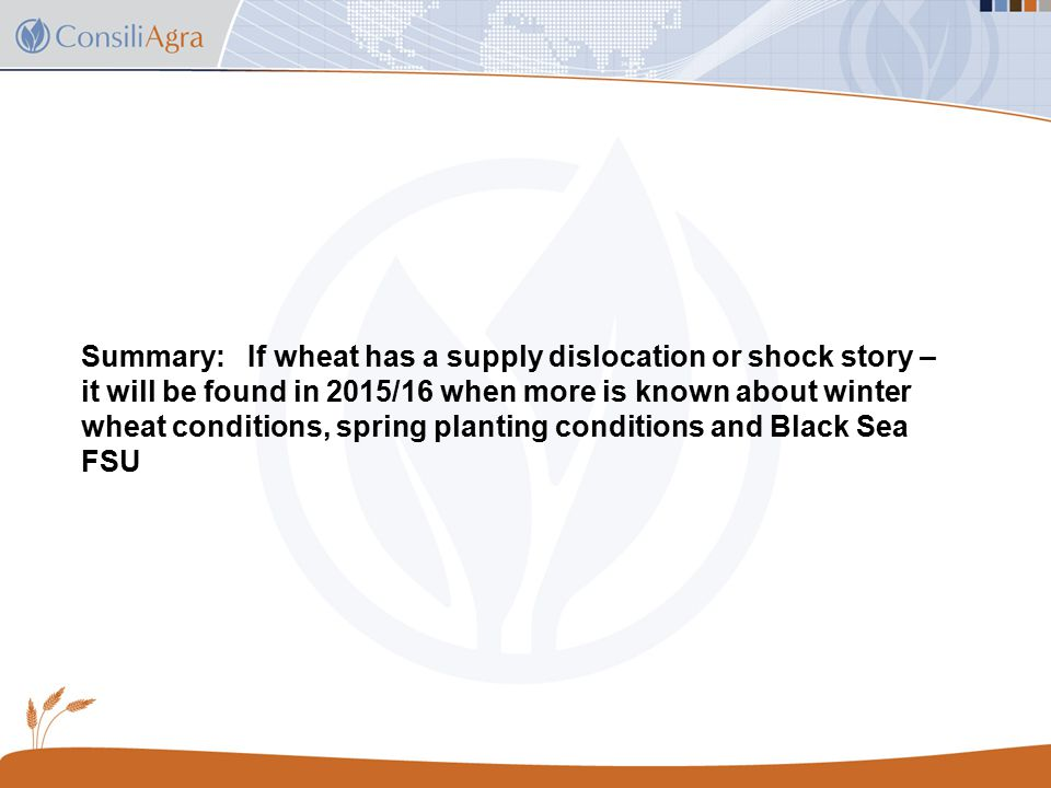 Summary: If wheat has a supply dislocation or shock story – it will be found in 2015/16 when more is known about winter wheat conditions, spring planting conditions and Black Sea FSU