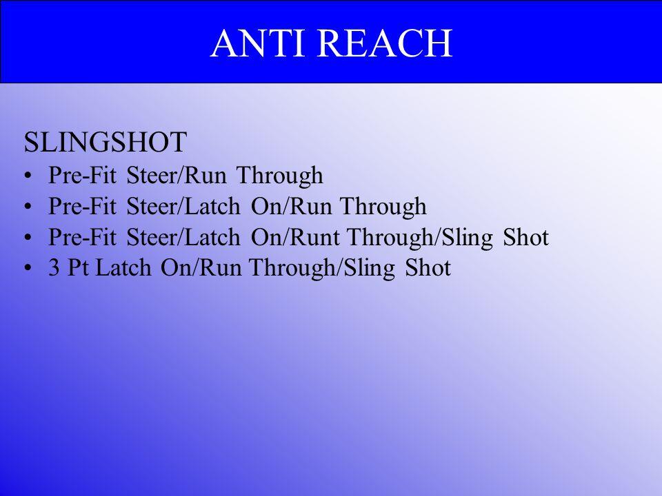 SLINGSHOT Pre-Fit Steer/Run Through Pre-Fit Steer/Latch On/Run Through Pre-Fit Steer/Latch On/Runt Through/Sling Shot 3 Pt Latch On/Run Through/Sling Shot ANTI REACH
