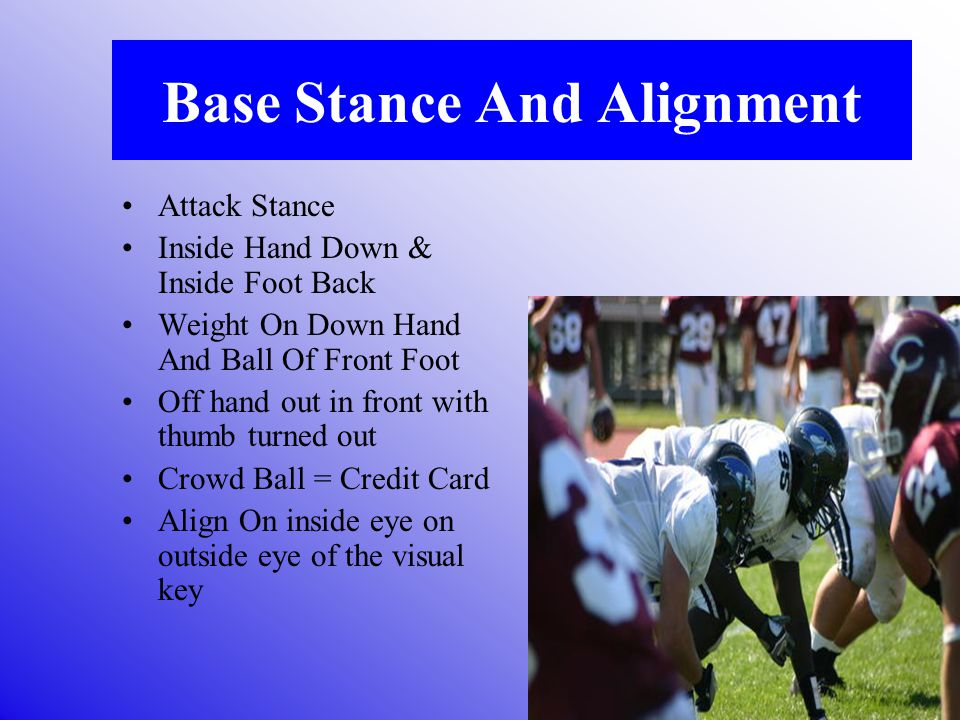 Base Stance And Alignment Attack Stance Inside Hand Down & Inside Foot Back Weight On Down Hand And Ball Of Front Foot Off hand out in front with thumb turned out Crowd Ball = Credit Card Align On inside eye on outside eye of the visual key