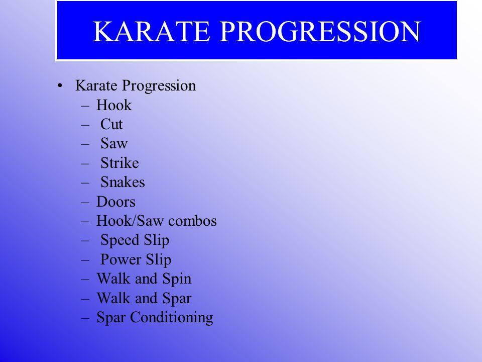 KARATE PROGRESSION Karate Progression –Hook – Cut – Saw – Strike – Snakes –Doors –Hook/Saw combos – Speed Slip – Power Slip –Walk and Spin –Walk and Spar –Spar Conditioning