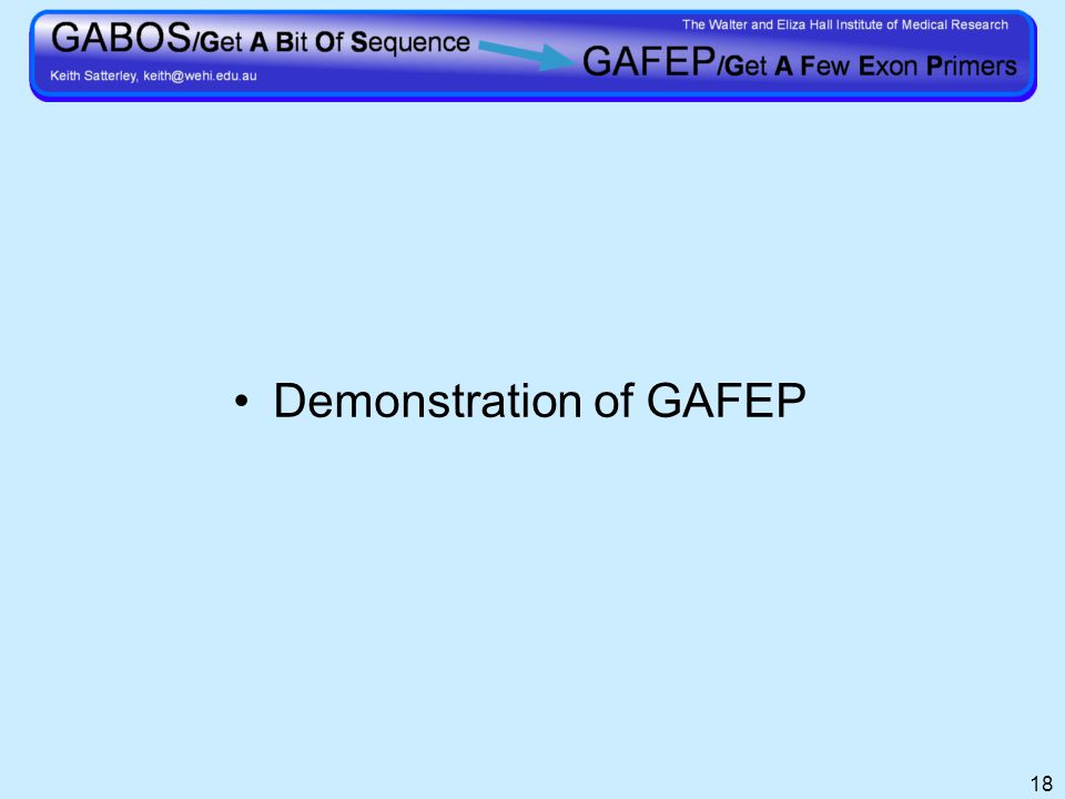 18 Demonstration of GAFEP