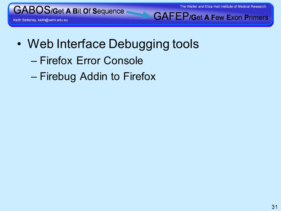 31 Web Interface Debugging tools –Firefox Error Console –Firebug Addin to Firefox