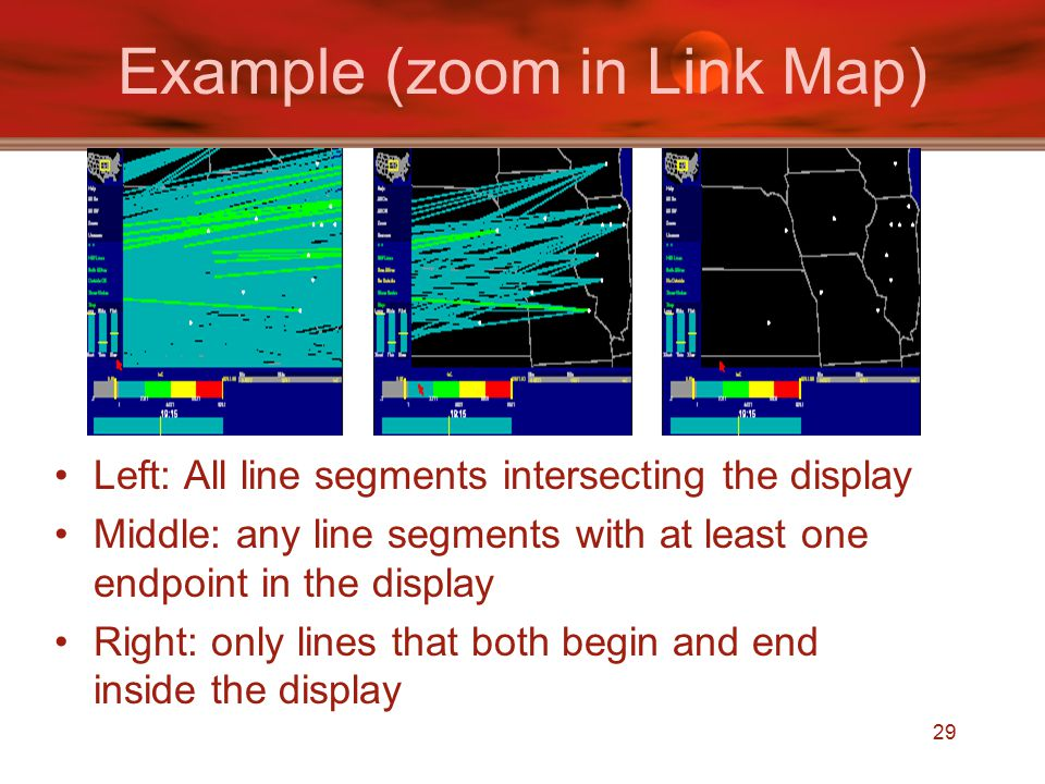 29 Example (zoom in Link Map) Left: All line segments intersecting the display Middle: any line segments with at least one endpoint in the display Right: only lines that both begin and end inside the display