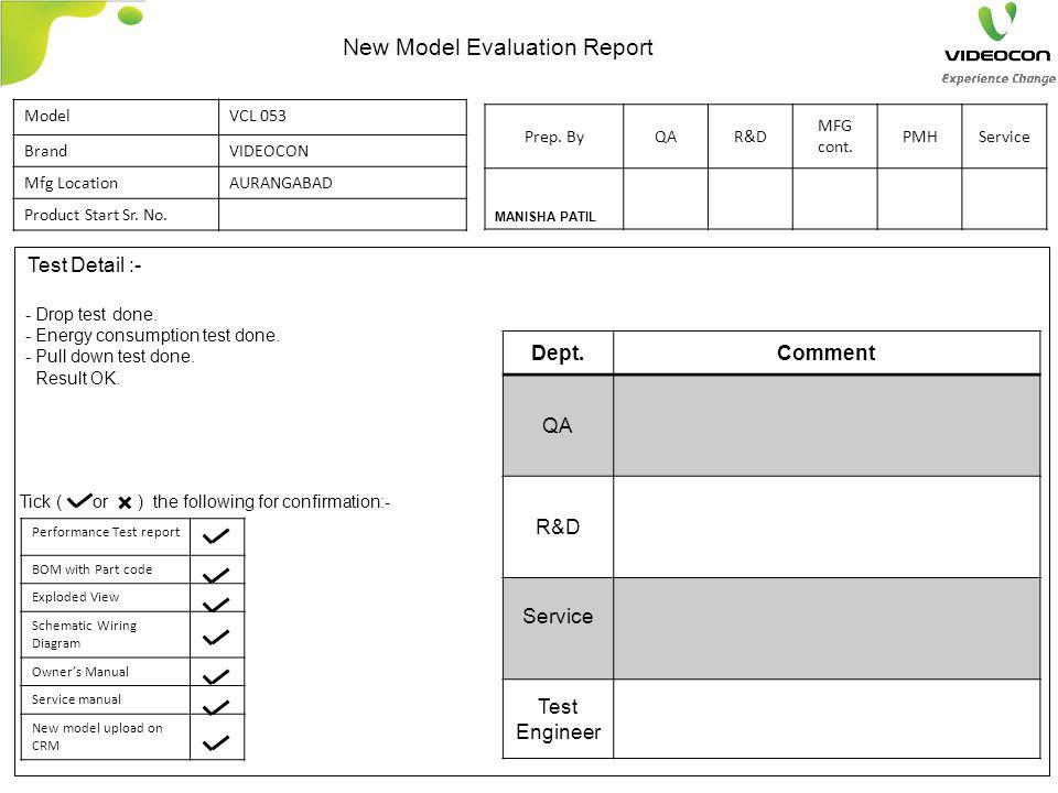 Test Detail :- Dept.Comment QA R&D Service Test Engineer - Drop test done.