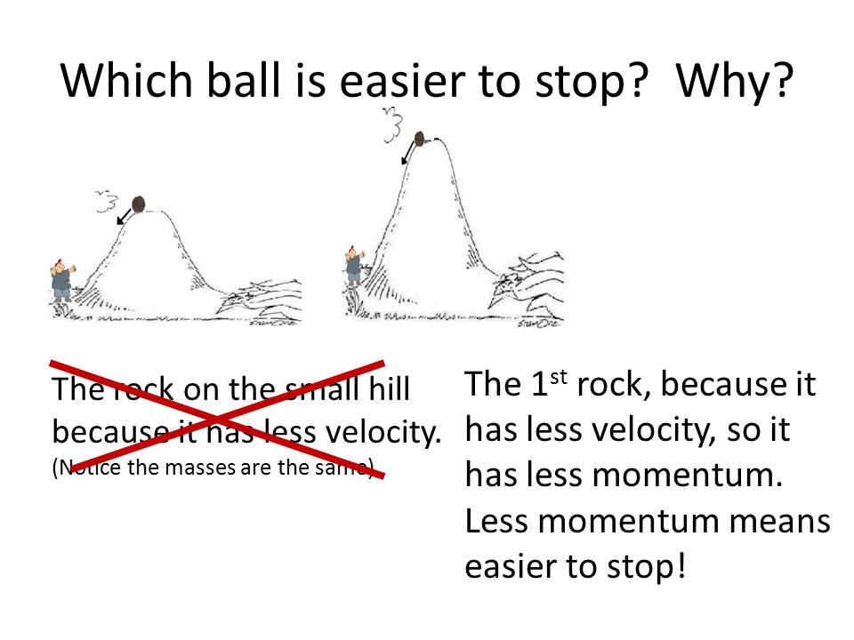 Which ball is easier to stop? Why? The rock on the small hill because it has less velocity. (Notice the masses are the same) The 1 st rock, because it