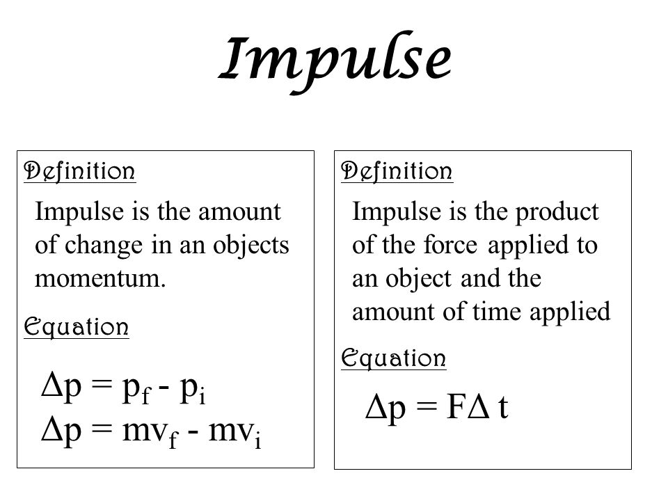 Impulse Definition Equation Definition Equation Impulse is the amount of change in an objects momentum. Δp = p f - p i Δp = mv f - mv i Impulse is the