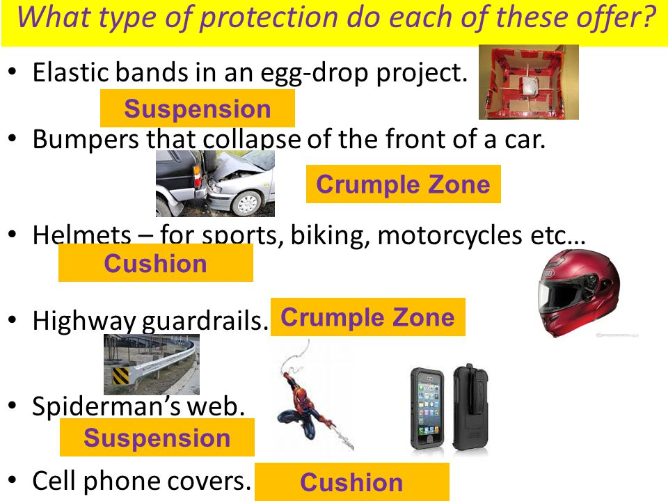 What type of protection do each of these offer? Elastic bands in an egg-drop project. Bumpers that collapse of the front of a car. Helmets – for sport
