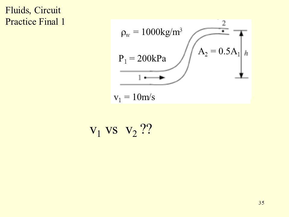 35 Fluids, Circuit Practice Final 1 P 1 = 200kPa v 1 = 10m/s  w = 1000kg/m 3 v 1 vs v 2 ?.
