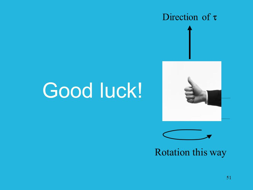 51 Good luck! Rotation this way Direction of 