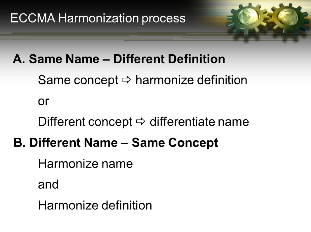 A. Same Name – Different Definition Same concept  harmonize definition or Different concept  differentiate name B. Different Name – Same Concept Har