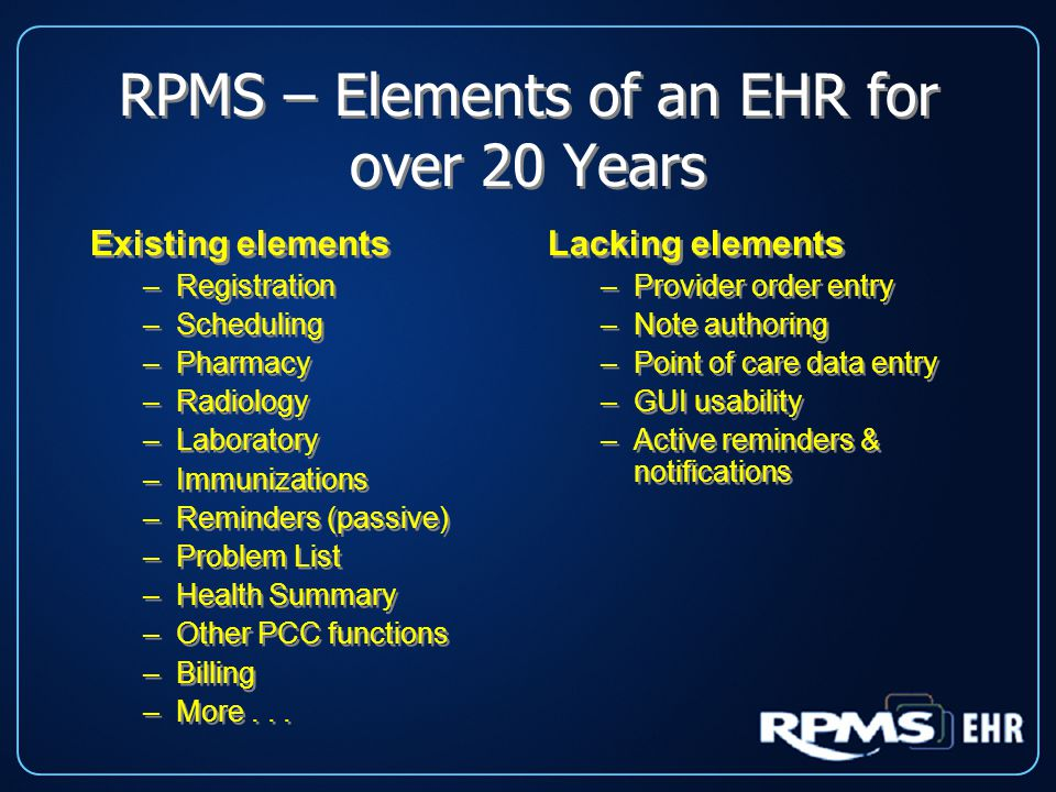 RPMS – Elements of an EHR for over 20 Years Existing elements –Registration –Scheduling –Pharmacy –Radiology –Laboratory –Immunizations –Reminders (passive) –Problem List –Health Summary –Other PCC functions –Billing –More...