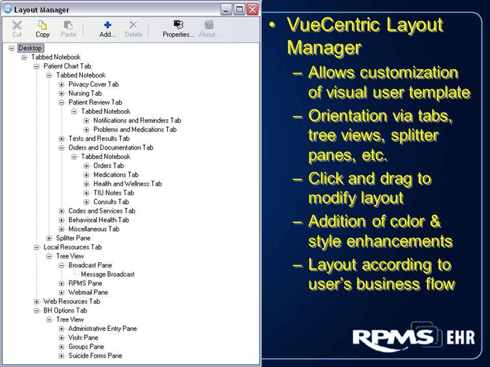VueCentric Layout Manager –Allows customization of visual user template –Orientation via tabs, tree views, splitter panes, etc.