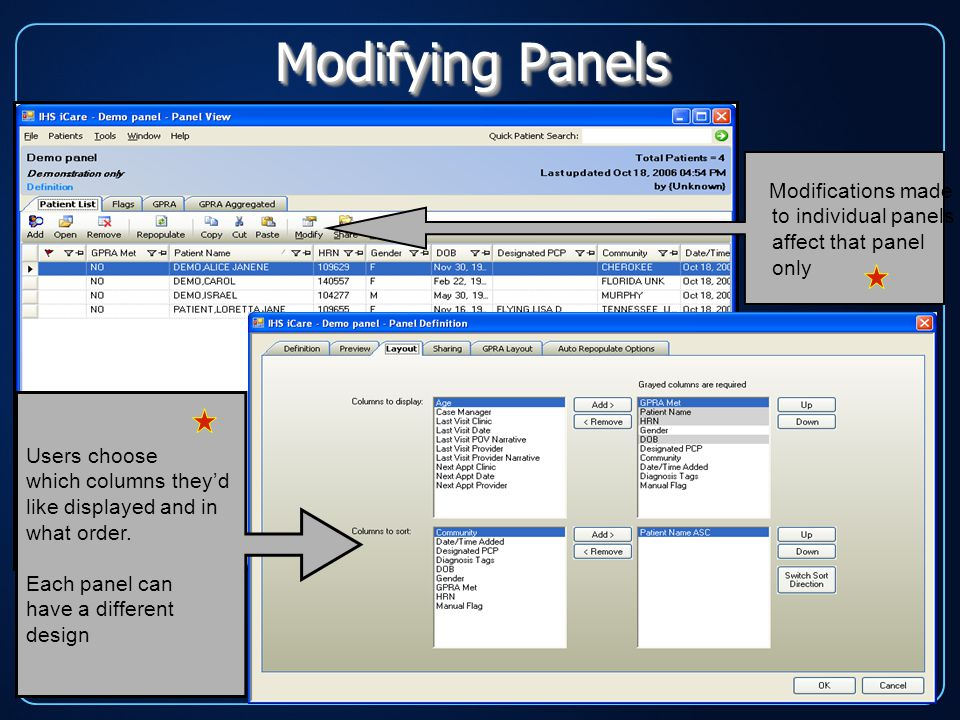 Modifying Panels Modifications made to individual panels affect that panel only Users choose which columns they'd like displayed and in what order.