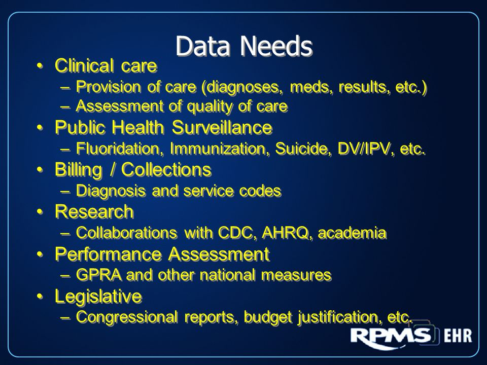 Data Needs Clinical care –Provision of care (diagnoses, meds, results, etc.) –Assessment of quality of care Public Health Surveillance –Fluoridation, Immunization, Suicide, DV/IPV, etc.