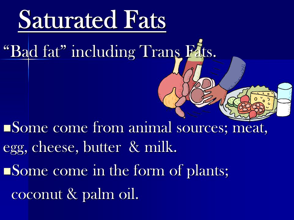 """Saturated Fats """"Bad fat"""" including Trans Fats. Some come from animal sources; meat, egg, cheese, butter & milk. Some come from animal sources; meat, e"""