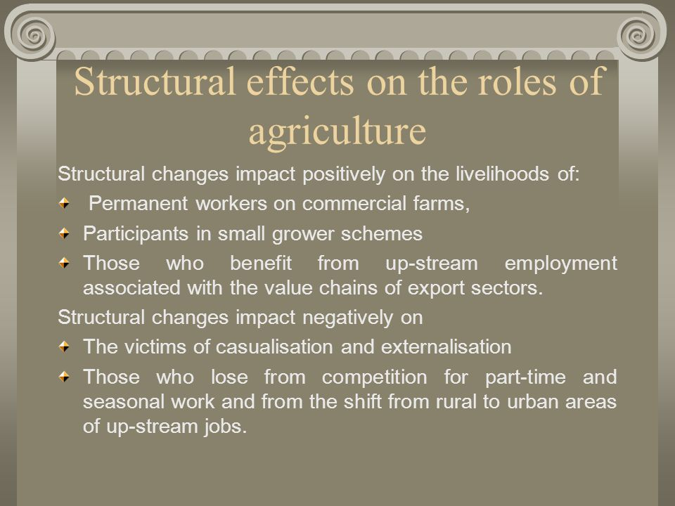 Structural effects on the roles of agriculture Structural changes impact positively on the livelihoods of: Permanent workers on commercial farms, Participants in small grower schemes Those who benefit from up-stream employment associated with the value chains of export sectors.