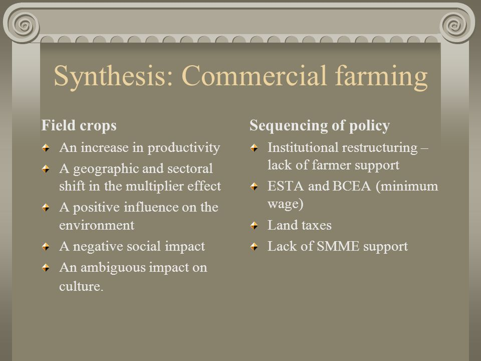 Synthesis: Commercial farming Field crops An increase in productivity A geographic and sectoral shift in the multiplier effect A positive influence on the environment A negative social impact An ambiguous impact on culture.