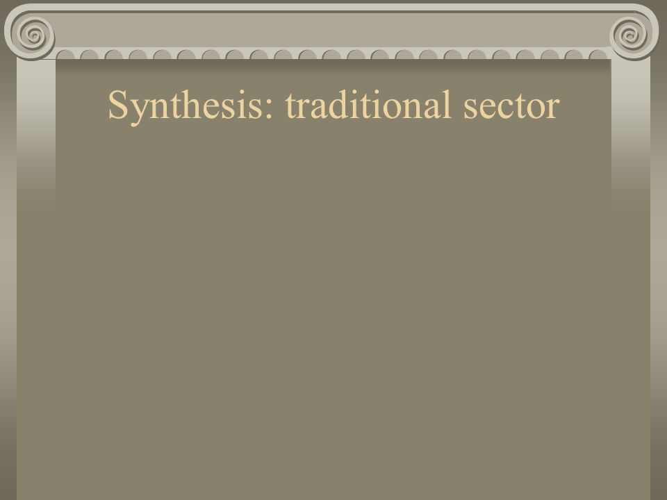 Synthesis: traditional sector