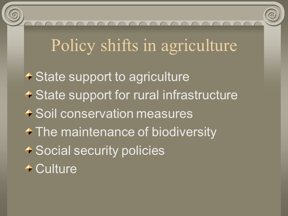 Policy shifts in agriculture State support to agriculture State support for rural infrastructure Soil conservation measures The maintenance of biodiversity Social security policies Culture