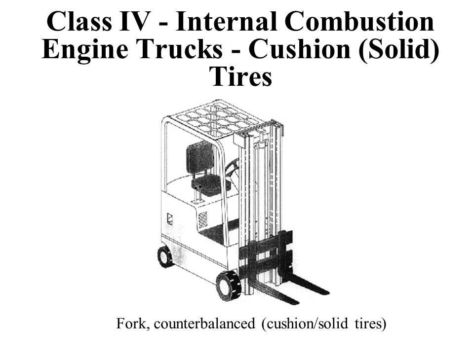 Class IV - Internal Combustion Engine Trucks - Cushion (Solid) Tires Fork, counterbalanced (cushion/solid tires)