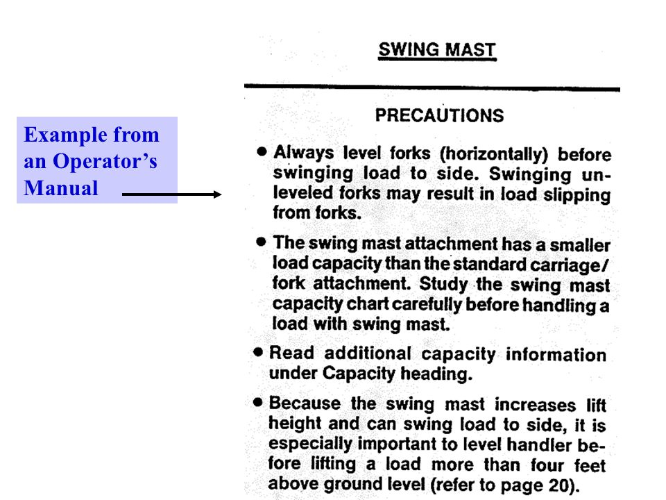 33 Example from an Operator's Manual