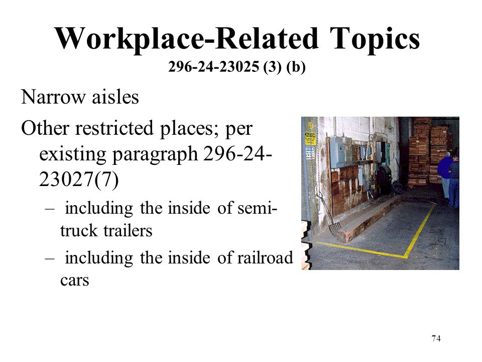 74 Workplace-Related Topics 296-24-23025 (3) (b) Narrow aisles Other restricted places; per existing paragraph 296-24- 23027(7) – including the inside