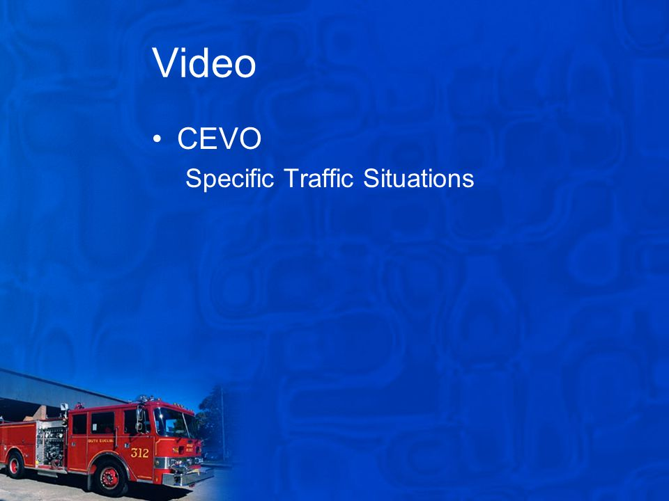 Video CEVO Specific Traffic Situations
