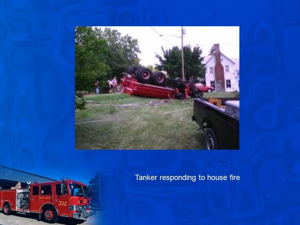 Tanker responding to house fire