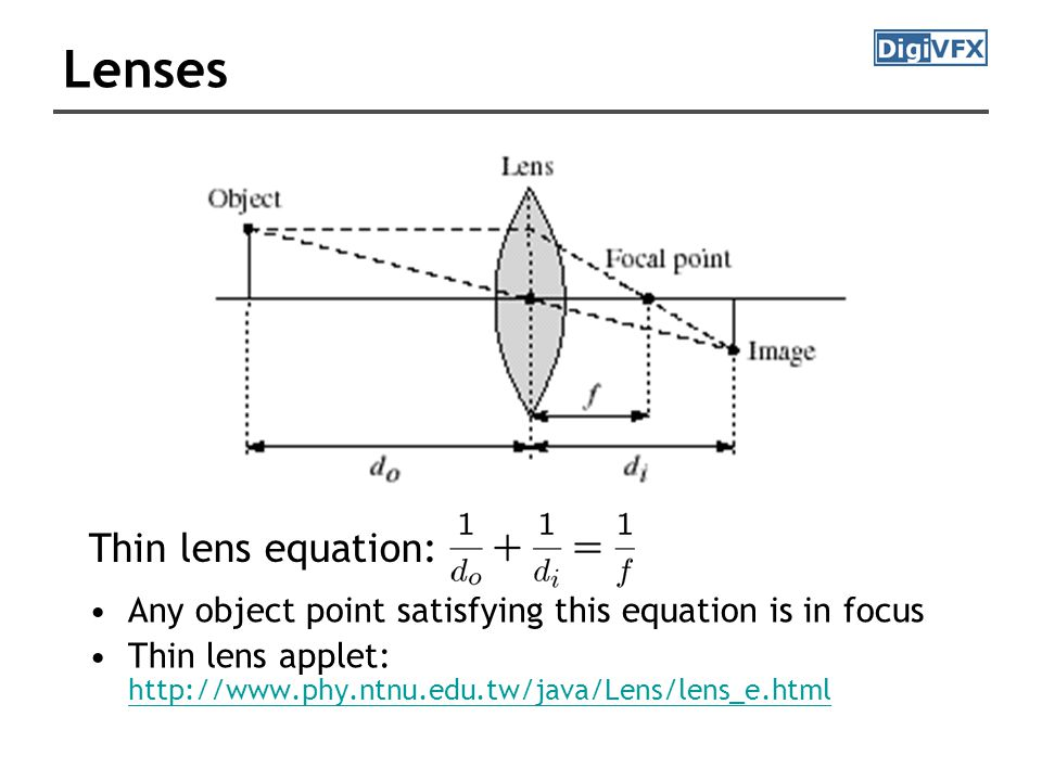 Lenses Any object point satisfying this equation is in focus Thin lens applet: http://www.phy.ntnu.edu.tw/java/Lens/lens_e.html http://www.phy.ntnu.edu.tw/java/Lens/lens_e.html Thin lens equation: