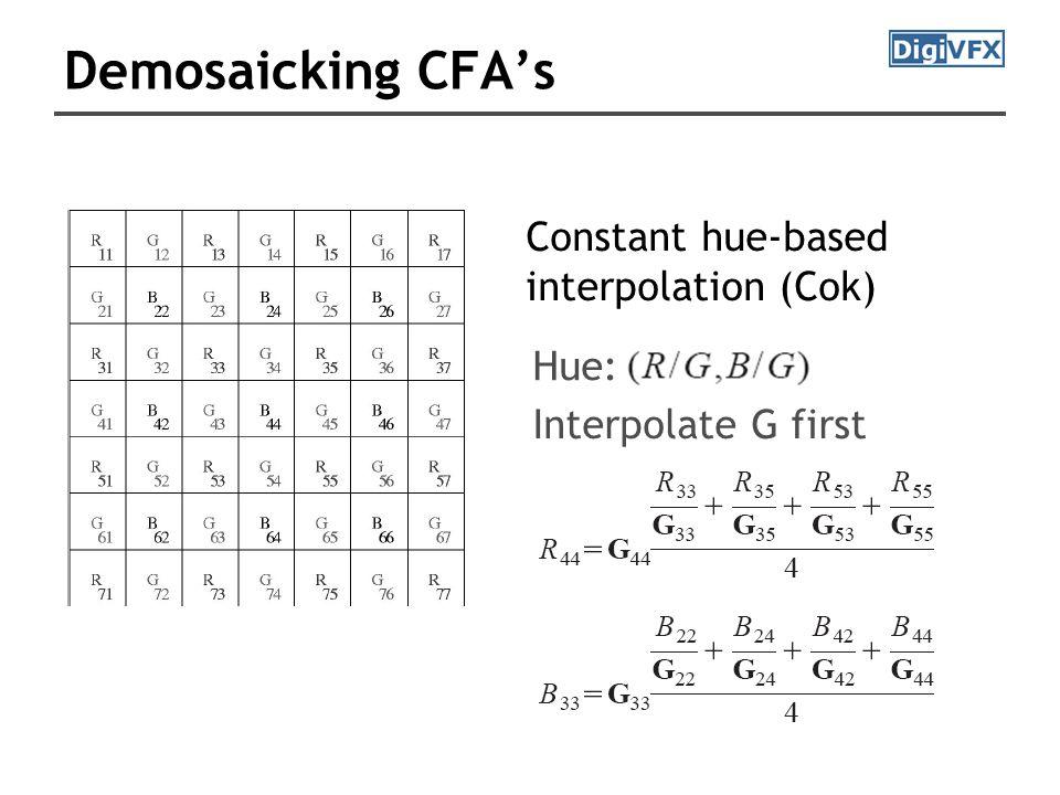 Demosaicking CFA's Constant hue-based interpolation (Cok) Hue: Interpolate G first