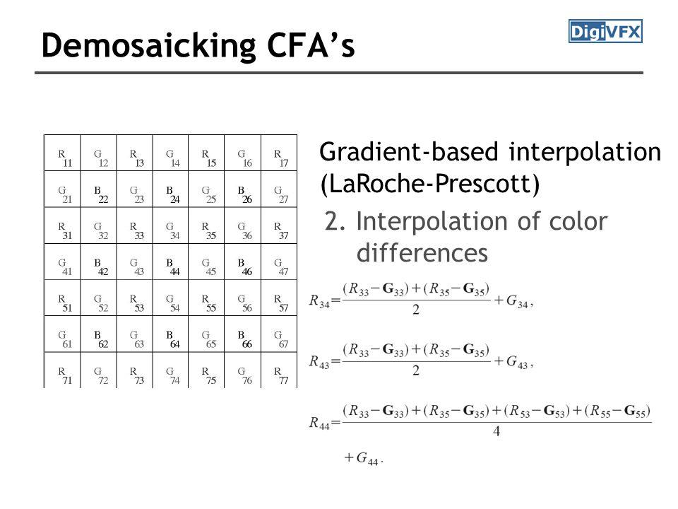 Demosaicking CFA's Gradient-based interpolation (LaRoche-Prescott) 2.
