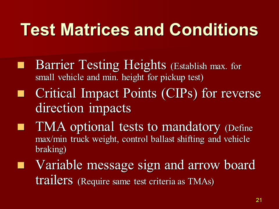 Barrier Testing Heights (Establish max. for small vehicle and min.