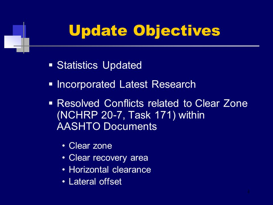  Statistics Updated  Incorporated Latest Research  Resolved Conflicts related to Clear Zone (NCHRP 20-7, Task 171) within AASHTO Documents Clear zone Clear recovery area Horizontal clearance Lateral offset 4 Update Objectives