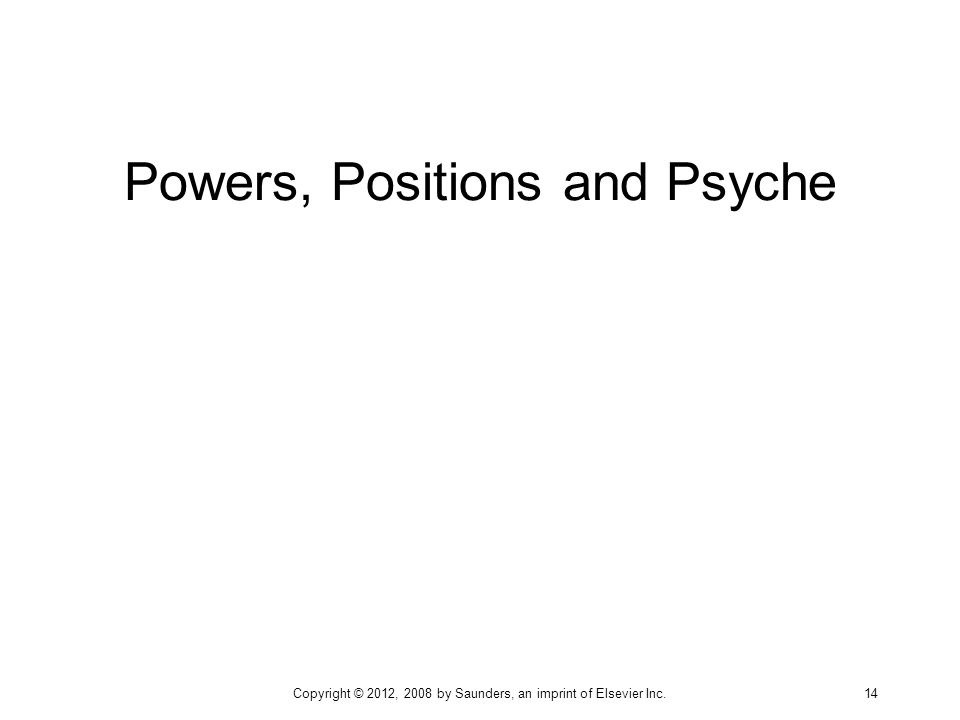 Powers, Positions and Psyche Copyright © 2012, 2008 by Saunders, an imprint of Elsevier Inc. 14