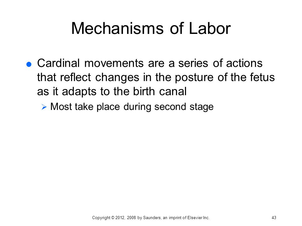Mechanisms of Labor  Cardinal movements are a series of actions that reflect changes in the posture of the fetus as it adapts to the birth canal  Mo
