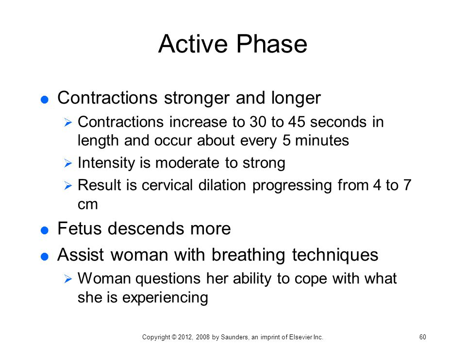 Active Phase  Contractions stronger and longer  Contractions increase to 30 to 45 seconds in length and occur about every 5 minutes  Intensity is m