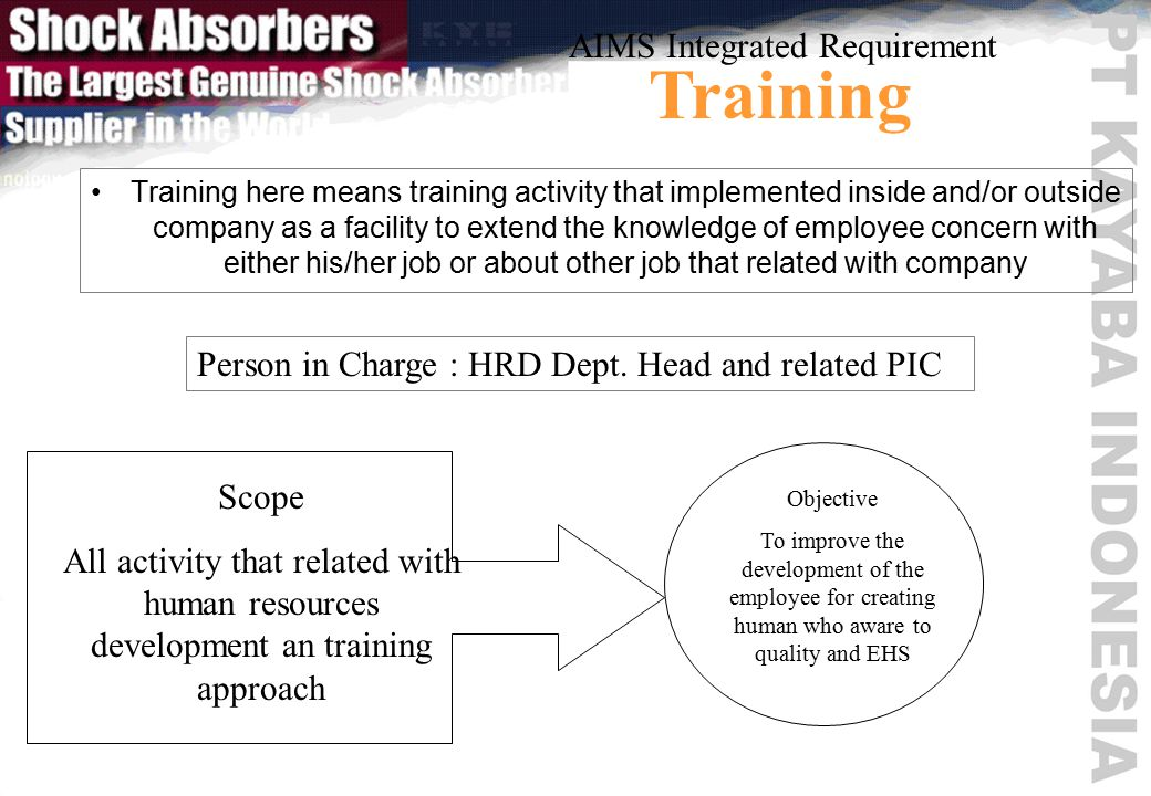 Training here means training activity that implemented inside and/or outside company as a facility to extend the knowledge of employee concern with either his/her job or about other job that related with company AIMS Integrated Requirement Training Person in Charge : HRD Dept.