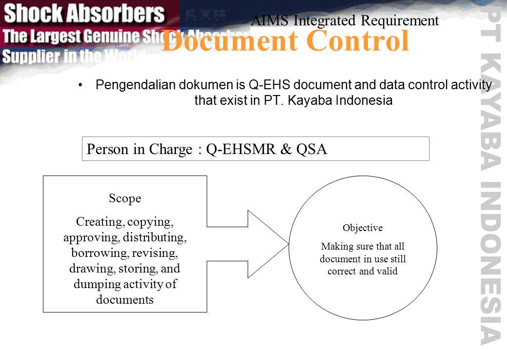 Document Control Pengendalian dokumen is Q-EHS document and data control activity that exist in PT.