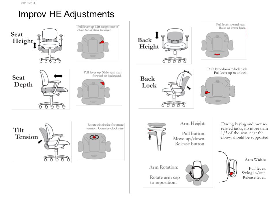 08/03/2011 Improv HE, High Back Chair with 3D Height & Width Adj. Arms M251-1W41,NI-4,TR-F Features: Arms: molded black vinyl arm cap Arm Adjustment: