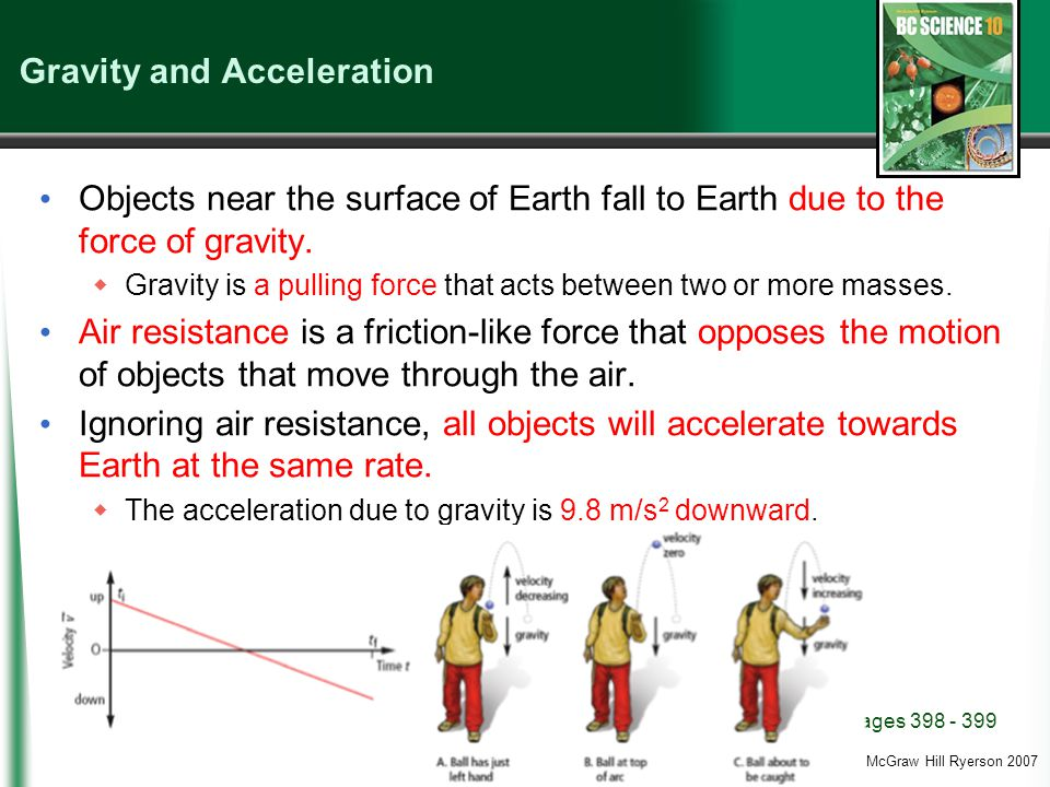 (c) McGraw Hill Ryerson 2007 Gravity and Acceleration Objects near the surface of Earth fall to Earth due to the force of gravity.