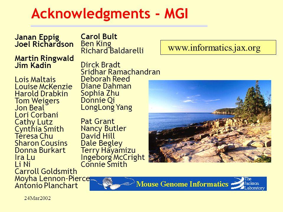 24Mar2002 Acknowledgments - MGI Carol Bult Ben King Richard Baldarelli Dirck Bradt Sridhar Ramachandran Deborah Reed Diane Dahman Sophia Zhu Donnie Qi