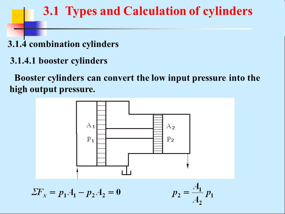 3.1.4 combination cylinders Booster cylinders can convert the low input pressure into the high output pressure. 3.1.4.1 booster cylinders 3.1 Types an