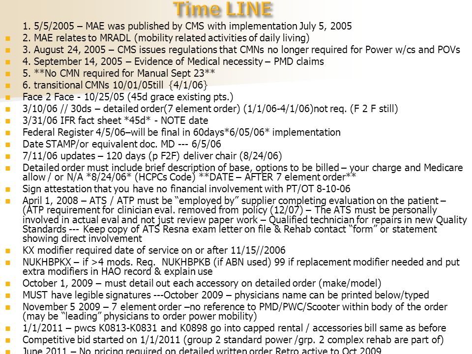 1.5/5/2005 – MAE was published by CMS with implementation July 5, 2005 2.