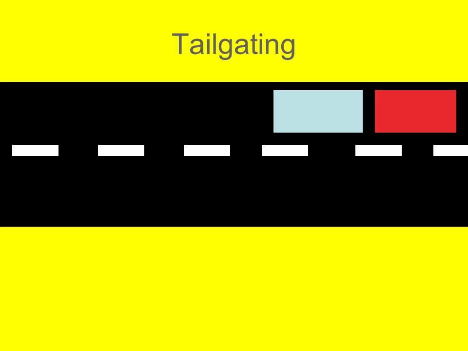 The Wrong Thing To Do: Tailgating Tailgating is following too closely being the vehicle directly in front.