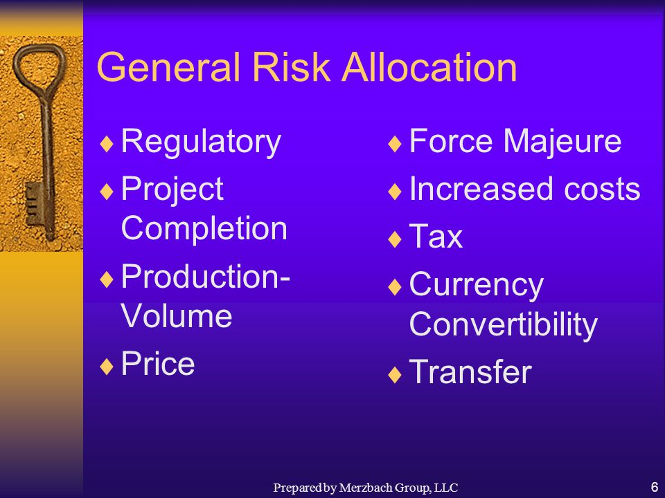 Prepared by Merzbach Group, LLC6 General Risk Allocation  Regulatory  Project Completion  Production- Volume  Price  Force Majeure  Increased costs  Tax  Currency Convertibility  Transfer