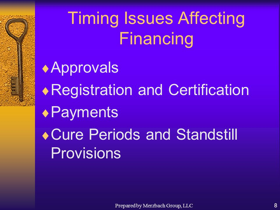 Prepared by Merzbach Group, LLC8 Timing Issues Affecting Financing  Approvals  Registration and Certification  Payments  Cure Periods and Standstill Provisions